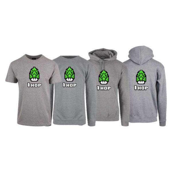 """Grå t-skjorte, sweatshirt, hettegenser og hettejakke med trykket """"1 hop"""""""