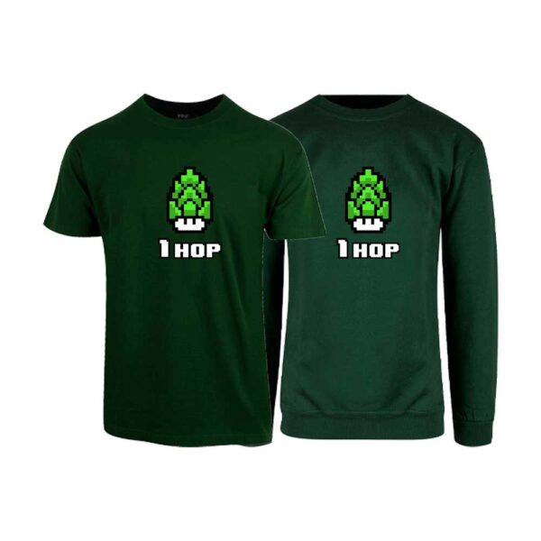 "Flaskegrønn t-skjorte og sweatshirt med trykket ""1 hop"""