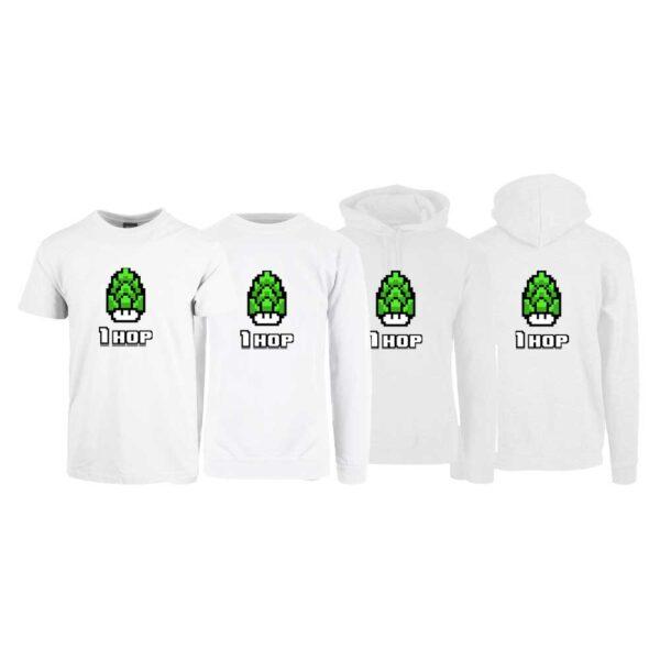 """Hvit t-skjorte, sweatshirt, hettegenser og hettejakke med trykket """"1 hop"""""""