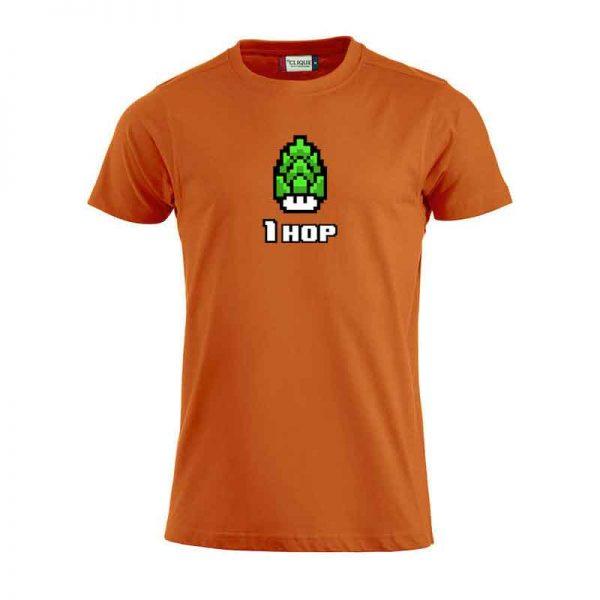 Orange t-skjorte fra Clique med trykket 1 hop