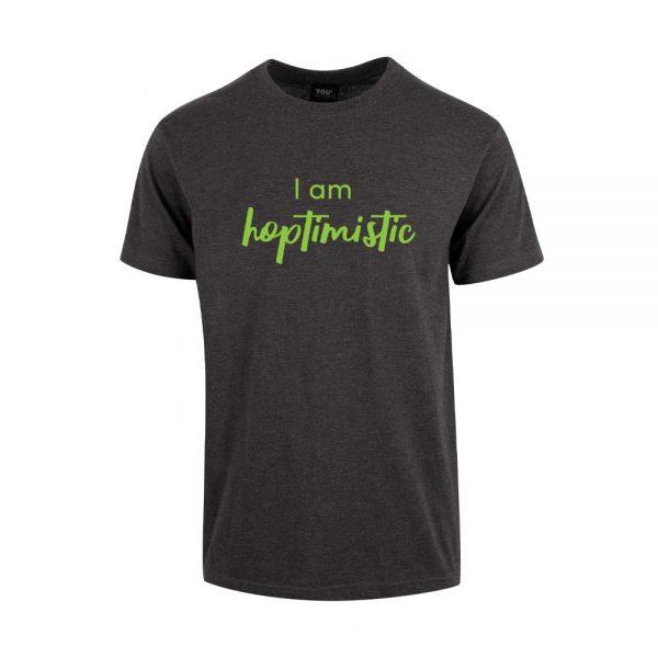 """Grå t-skjorte med trykket """"Hoptimistic"""""""