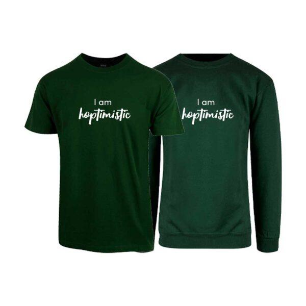 """Grønn t-skjorte og sweatshirt med trykket """"Hoptimistic"""""""
