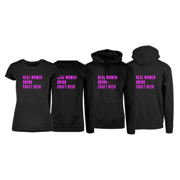Svart t-skjorte, sweatshirt, hettegenser og hettejakke fra YouBrands med Real Women Drink Craft Beer svart