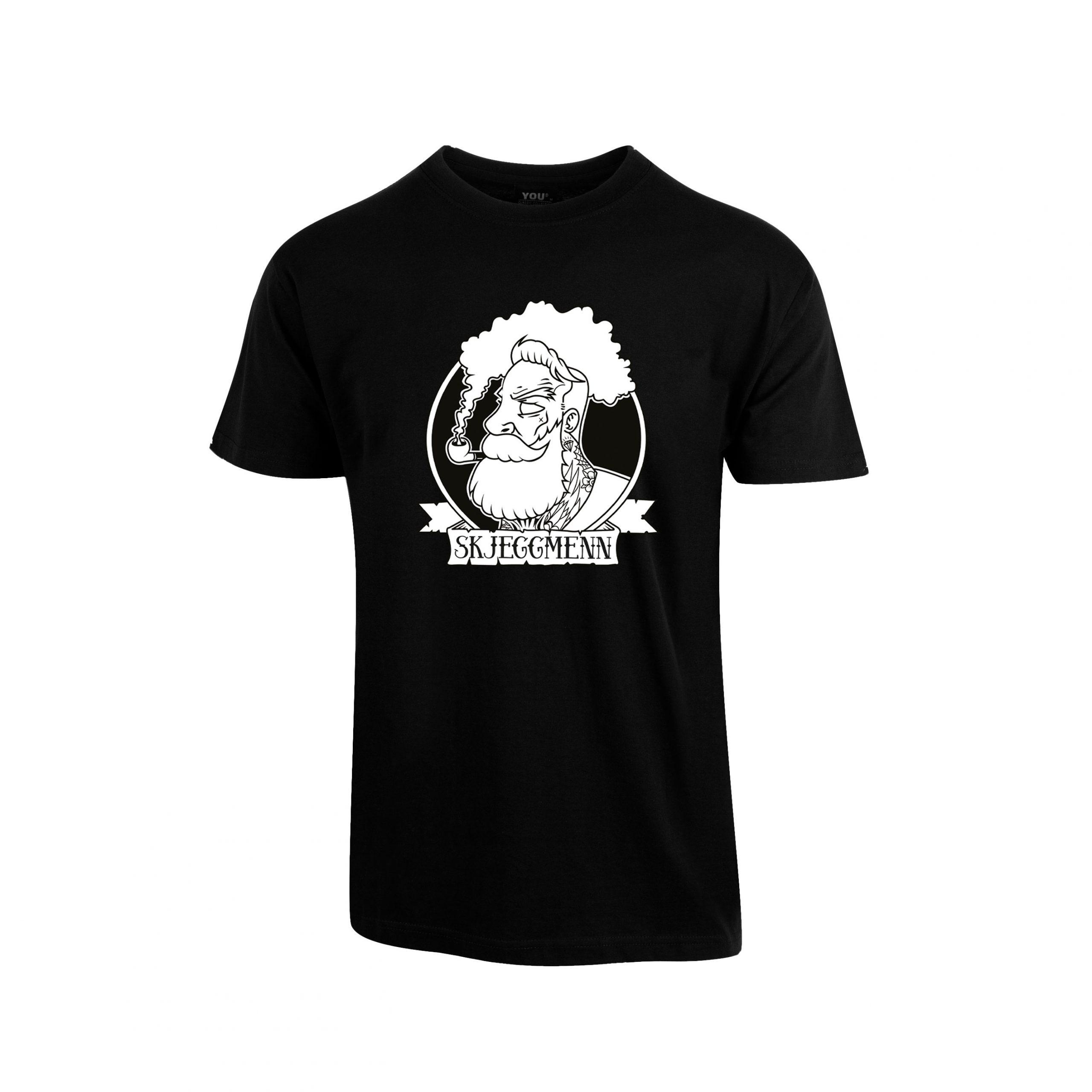 Svart t-skjorte med stor Skjeggmenn-logo