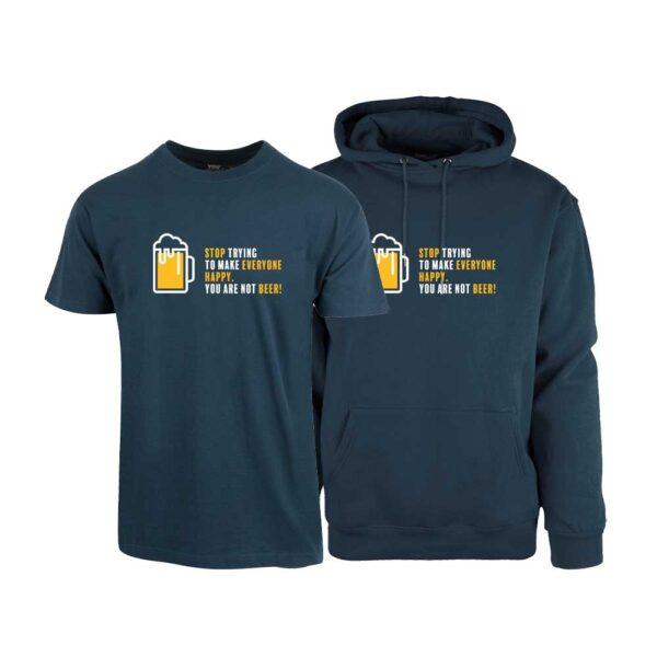 """Marineblå t-skjorte og hettegenser med trykket """"You are not beer"""""""