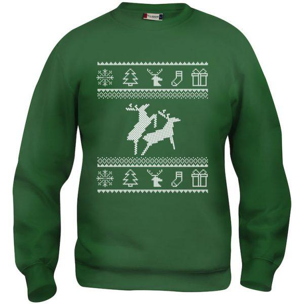 Grønn genser med to elger