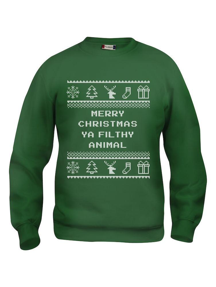 """Grønn genser med sitat fra Alene Hjemme, """"Merry Christmas ya filthy animal""""."""