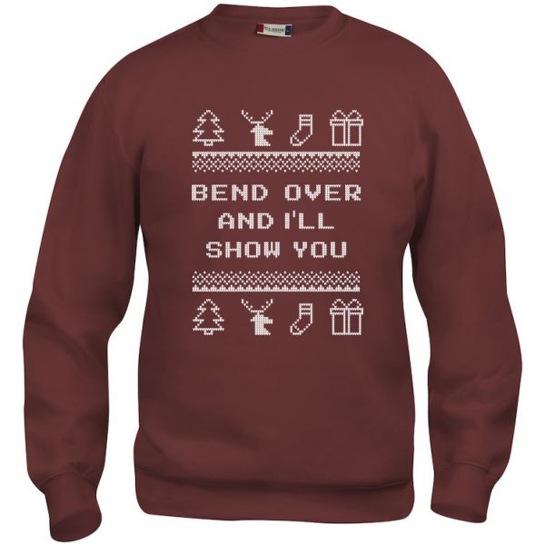 "Rød genser med sitat fra Christmas Vacation ""Bend over and I´ll show you"""
