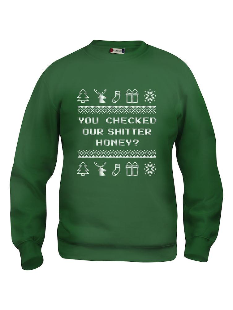 """Grønn genser med sitat fra Christmas Vacation """"You checked our shitter, honey"""""""