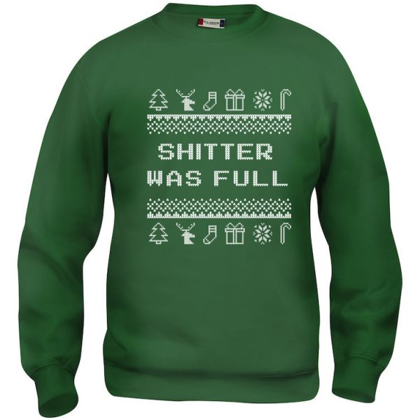 """Grønn genser med sitat fra """"Hjelp, det er juleferie"""", """"Shitter was full"""""""