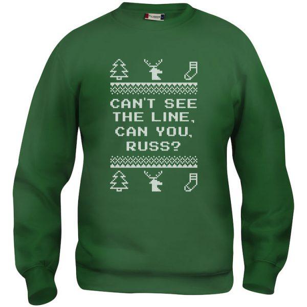"""Grønn genser med sitat fra """"Hjelp, det er juleferie"""", """"Can´t see the line, can you, Russ?"""""""