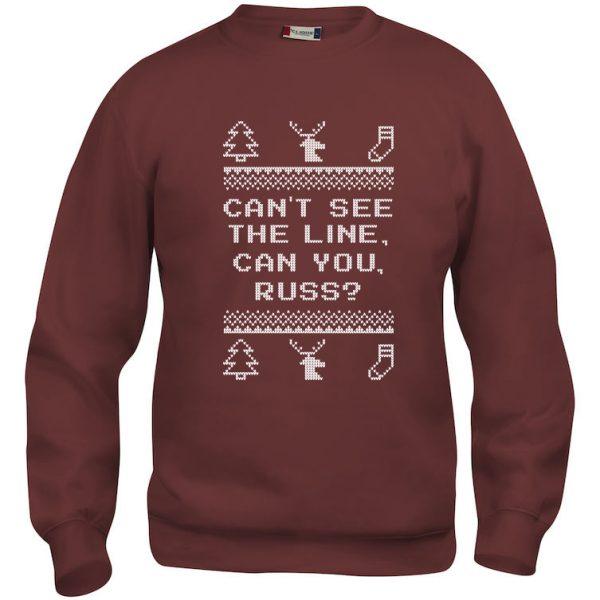 """Rød genser med sitat fra """"Hjelp, det er juleferie"""", """"Can´t see the line, can you, Russ?"""""""