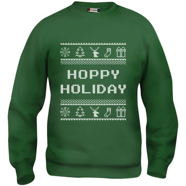 """Grønn genser med julemotiv og """"Hoppy Holiday"""""""