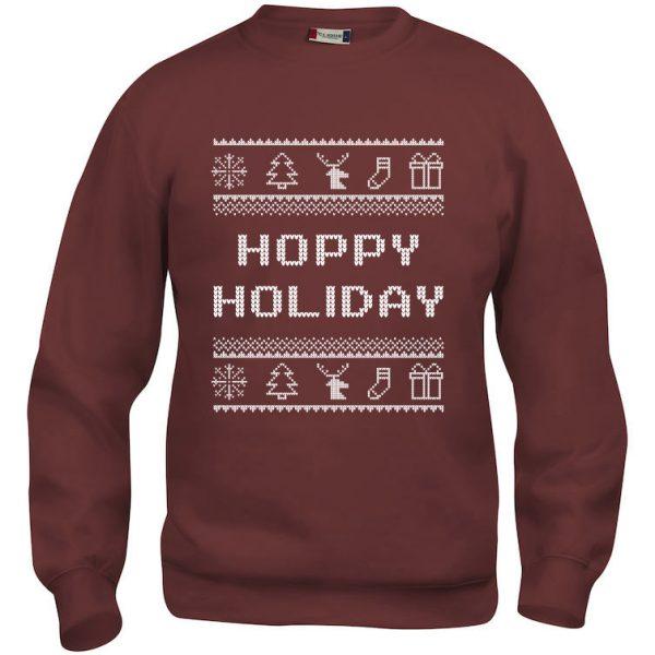 """Rød genser med julemotiv og """"Hoppy Holiday"""""""