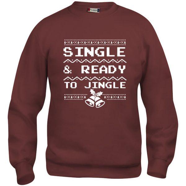 "Rød genser med ""Single & ready to jingle"""