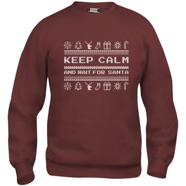 """Rød genser med """"Keep calm and wait for Santa"""""""
