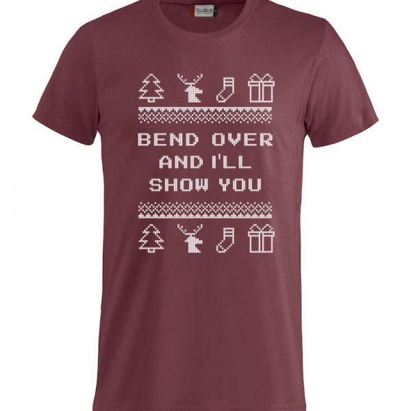 "Rød t-skjorte med sitat fra Christmas Vacation ""Bend over and I´ll show you"""