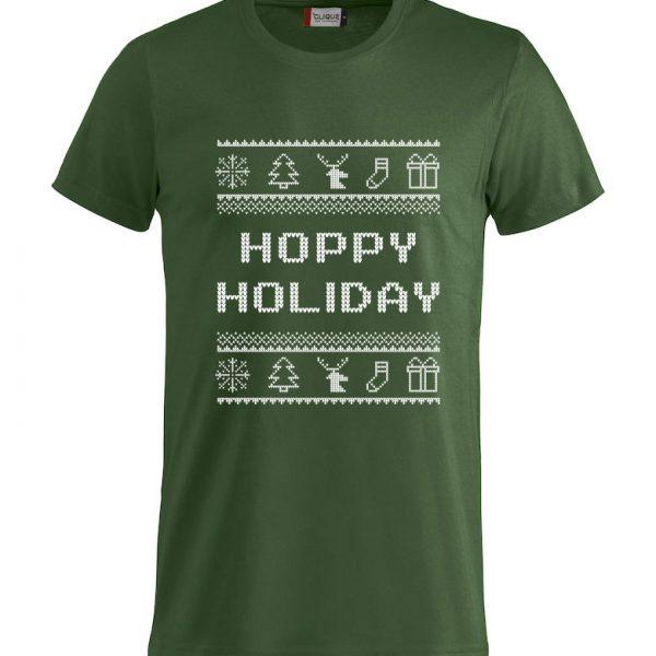 """Grønn t-skjorte med julemotiv og """"Hoppy Holiday"""""""