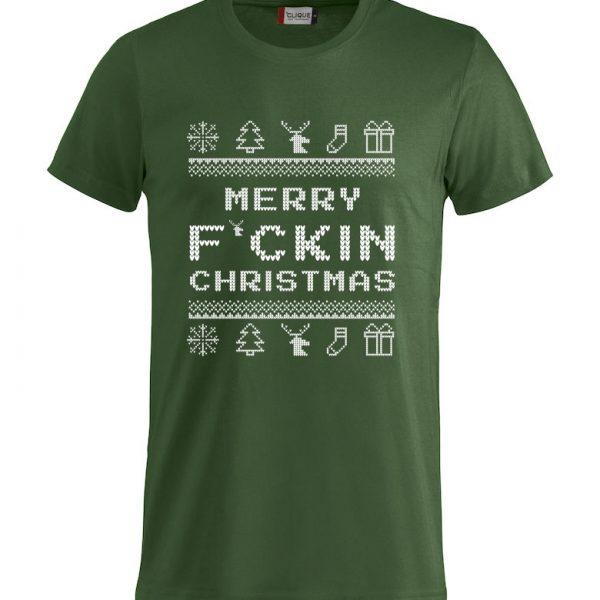 """Grønn T-skjorte med """"Merry F´cking Christmas"""""""