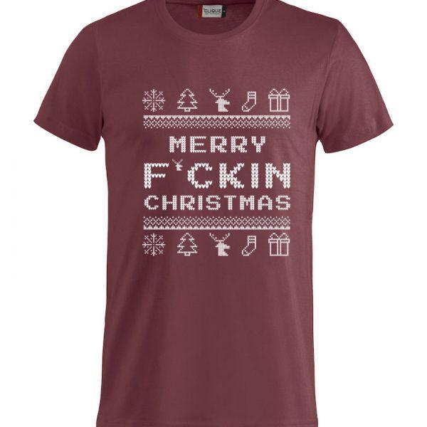 """Rød T-skjorte med """"Merry F´cking Christmas"""""""
