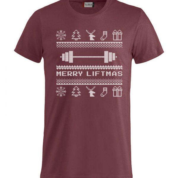 """Rød t-skjorte med julemotiv og """"Merry Liftmas"""""""