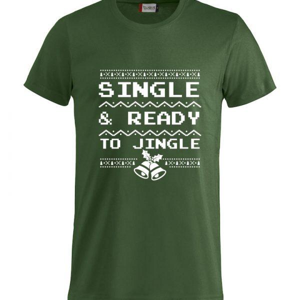 """Grønn t-skjorte med """"Single & ready to jingle"""""""