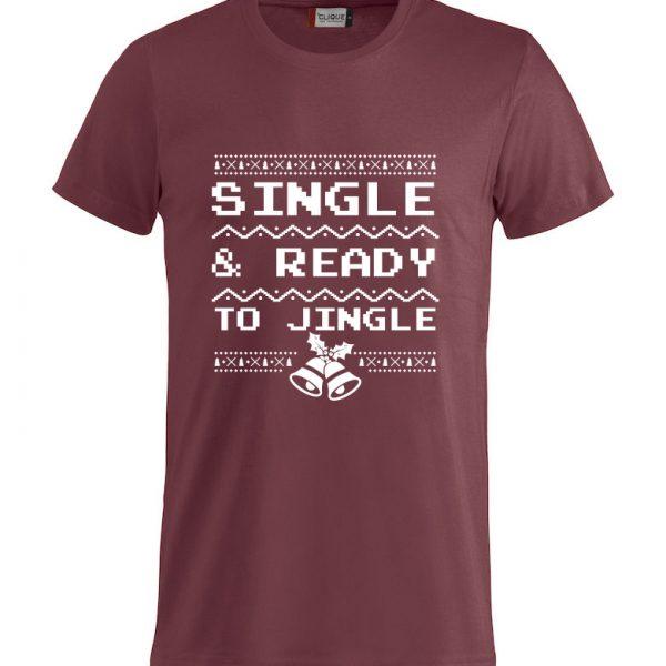 "Rød t-skjorte med ""Single & ready to jingle"""