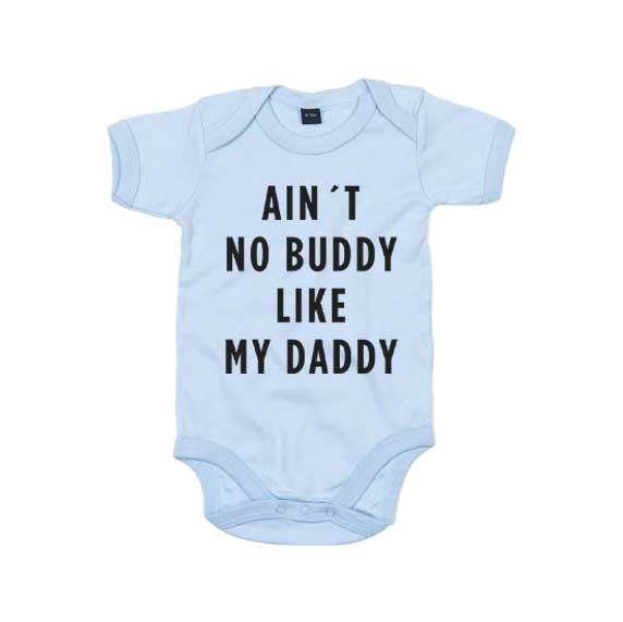 "Blå babybody med trykket ""Buddy like Daddy"""