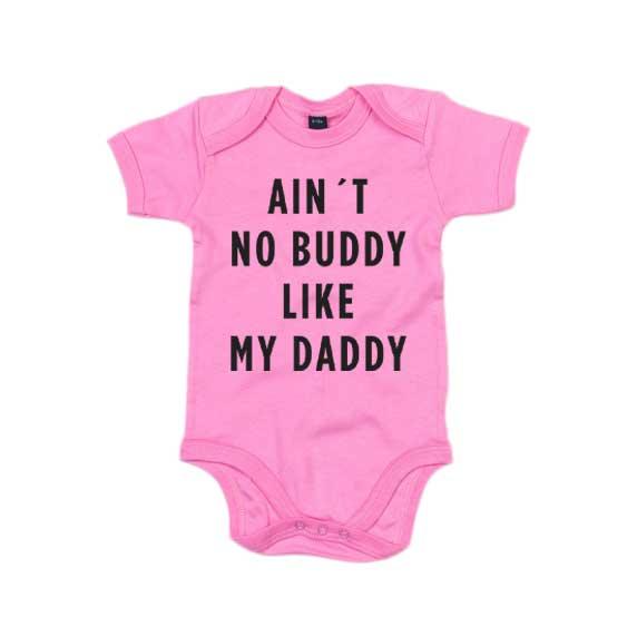 """Rosa babybody med trykket """"Buddy like Daddy"""""""