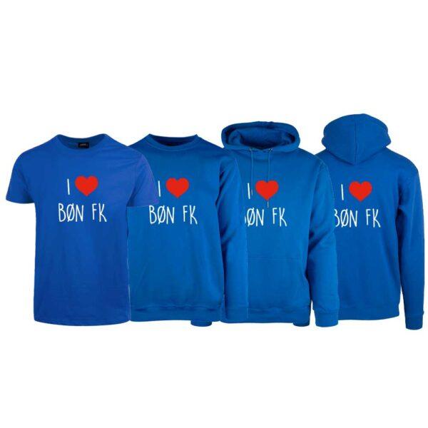 Blå t-skjorte, genser, hettegenser og hettejakke med I love Bøn FK