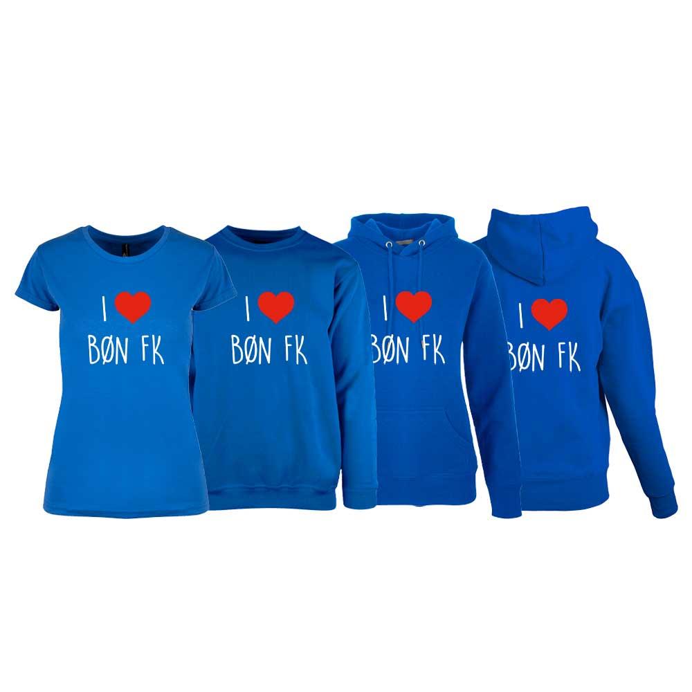 Svart t-skjorte, genser, hettegenser og hettejakke for damer, med I love Bøn FK