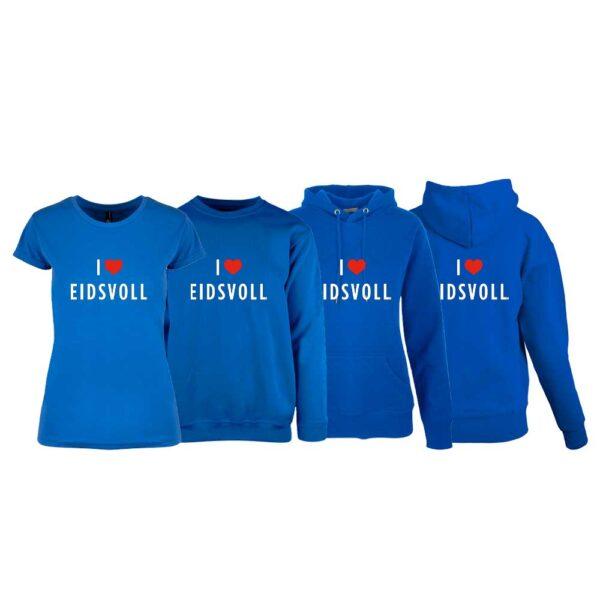 """Kornblå t-skjorte , sweatshirt,hettegenser og hettejakke fra YouBrands med trykket """"I love Eidsvoll"""""""