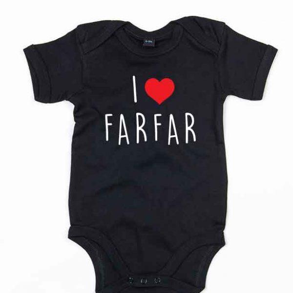 """Svart babybody med teksten """"I love farfar"""""""