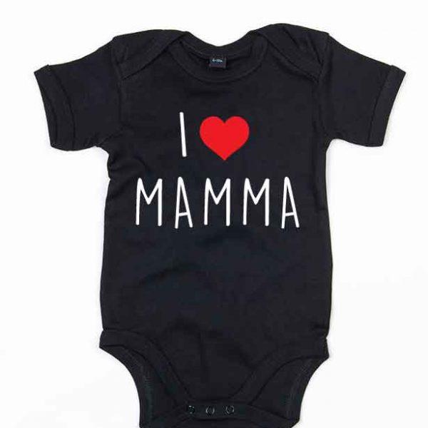"""Svart babybody med teksten """"I love mamma"""""""