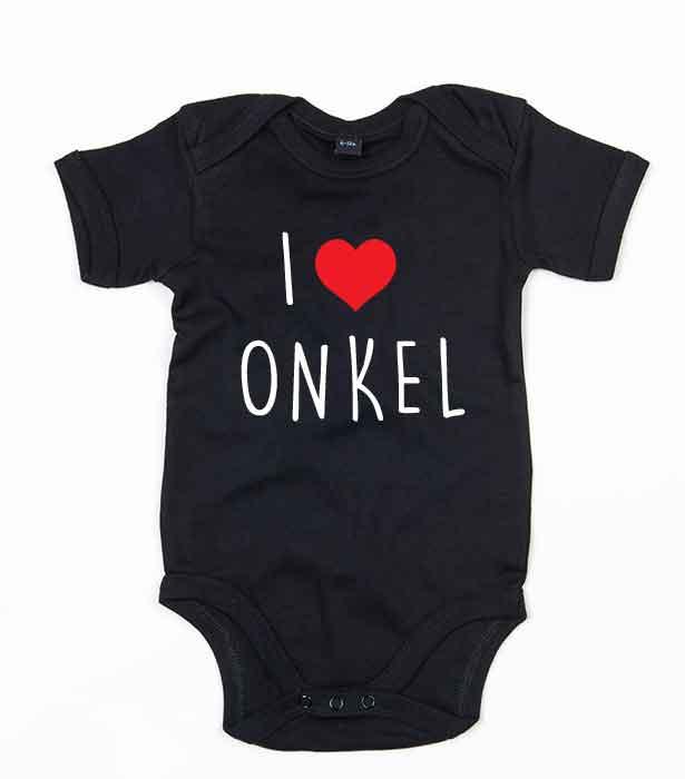 """Svart babybody med teksten """"I love onkel"""""""