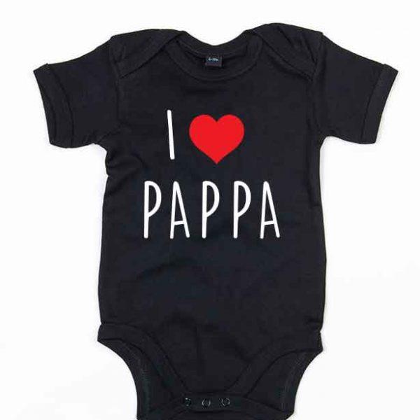 """Svart babybody med teksten """"I love pappa"""""""