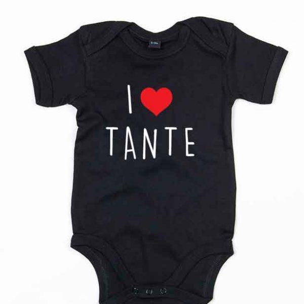 """Svart babybody med teksten """"I love tante"""""""