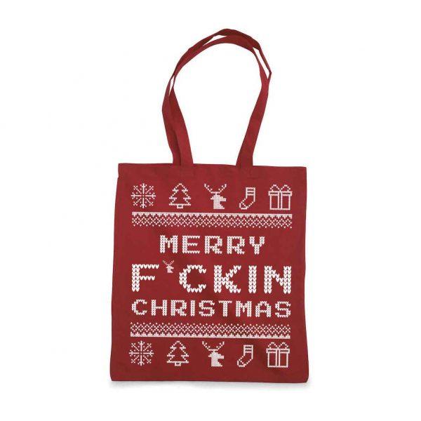 Handlenett Jul Merry F Christmas Rød
