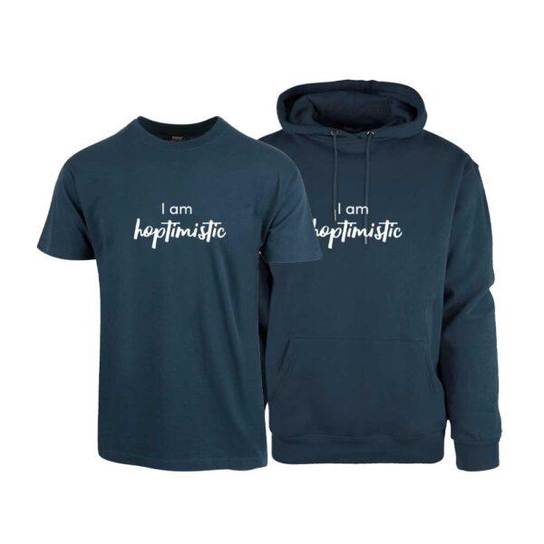 """Marineblå t-skjorte og hettegenser med trykket """"Hoptimistic"""""""