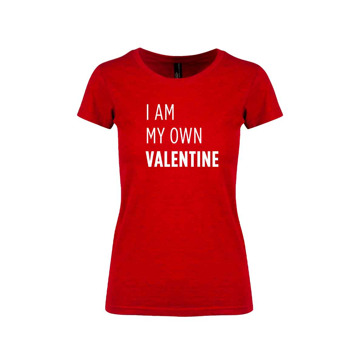 "Rød t-skjorte fra YouBrands med fluoriserende trykk ""I am my own Valentine"""