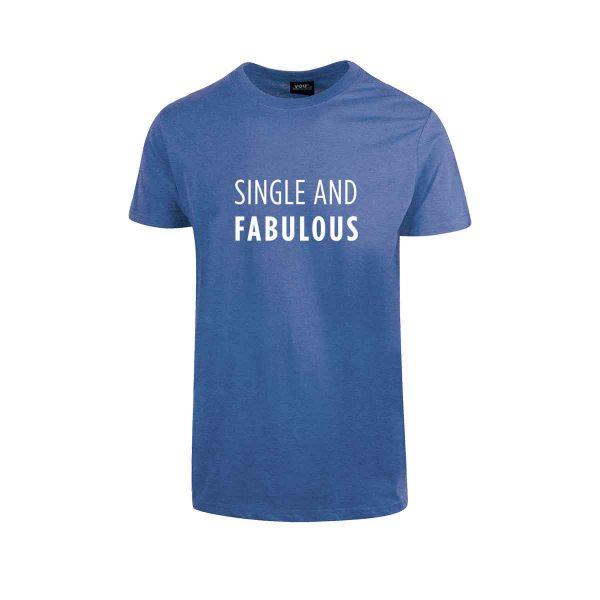 """Blå t-skjorte fra YouBrands med fluoriserende trykk """"Single and Fabulous"""""""