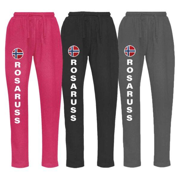 Bukse i rosa, sort og grå i sweatmateriale, med rosaruss-logo