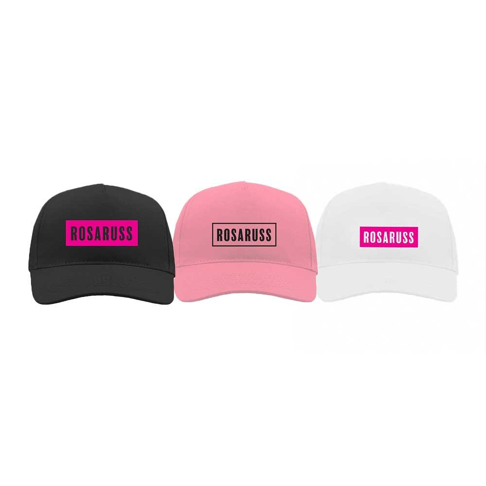 Svart, rosa og hvit caps med rosaruss-logoer