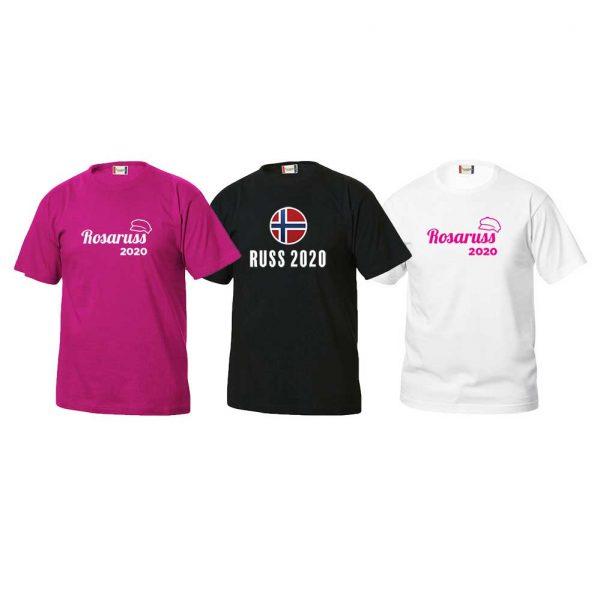 Rosa, svart og hvit t-skjorte med rosaruss-logoer