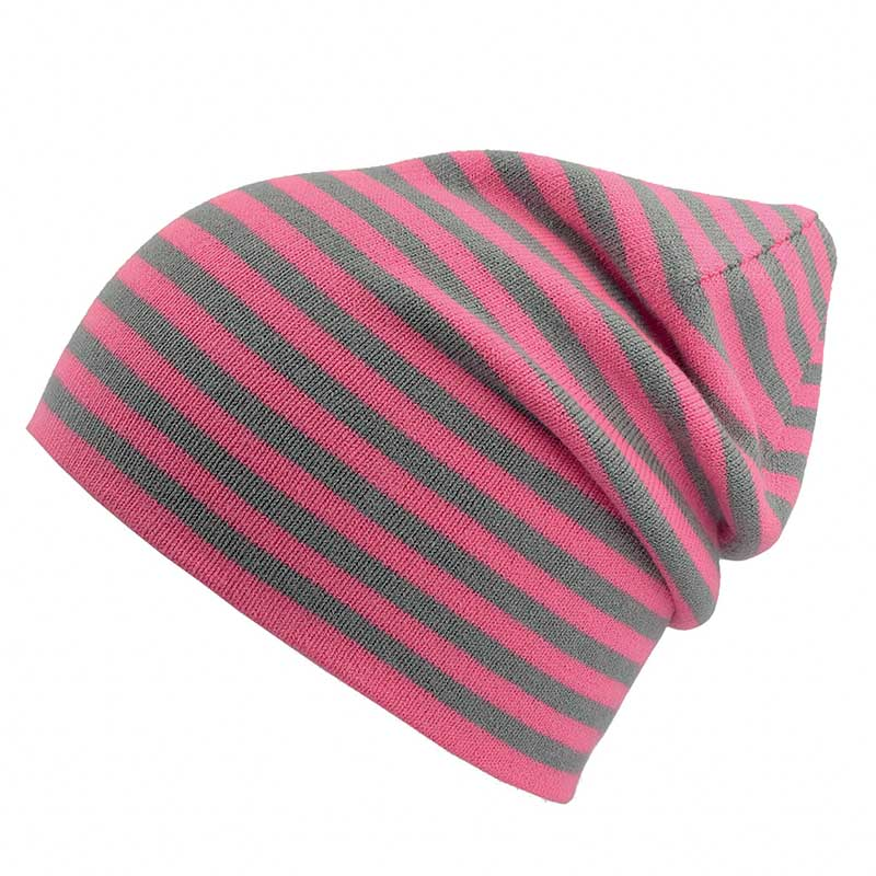 Grå- og rosa-stripet beanie