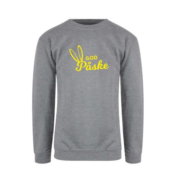"Grå genser fra YouBrands med gult trykk ""God Påske"""