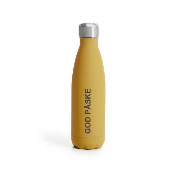 """Termoflaske i matt gul med gravert """"God påske"""""""