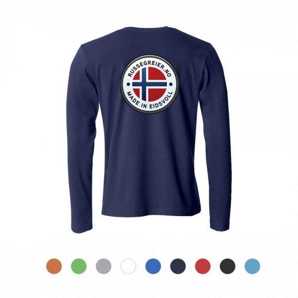 Langermet t-skjorte med stor russelogo på ryggen