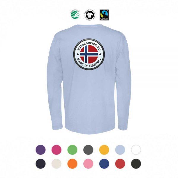 Økologisk, langermet t-skjorte med stor russelogo på ryggen