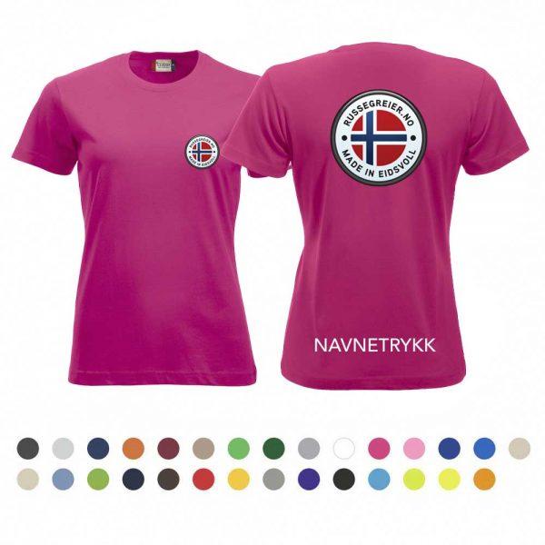 T-skjorte for damer med russelogo på bryst og rygg